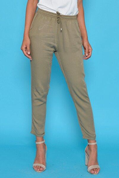 Kadın Haki Bel Lastikli Pantolon