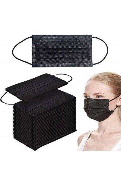 50 Adet Siyah Tek Kullanımlık Lastikli Telli 3 Katlı Cerrahi Koruyucu Yüz Maskesi