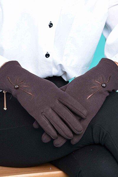 Kadın Kahverengi Milena Dokunmatik Penye Eldiven