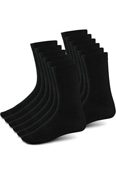 10 Çift Unisex Bambu Siyah Soket Çorap