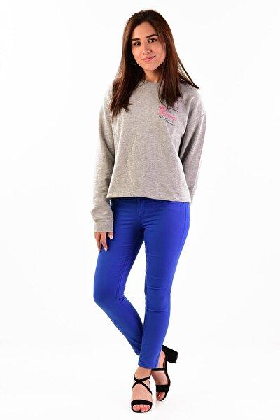 Kadın Saks Mavisi Düşük Bel Pantolon