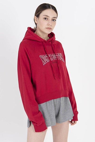 Kadın Kırmızı Yazı Detaylı Kapşonlu Sweat S12144 ADX-0000022959