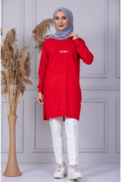 Kadın Kırmızı Önü Baskılı Sweatshirt