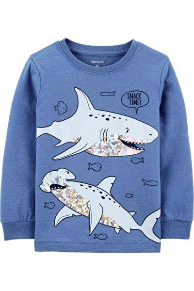 Çocuk Mavi Köpek Balığı Desenli  T-shirt