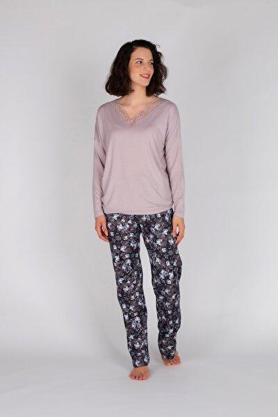 Kadın Lila Uzun Pijama Takımı