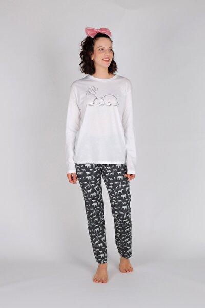 Kadın Gri Pamuklu Uzun Pijama Takımı