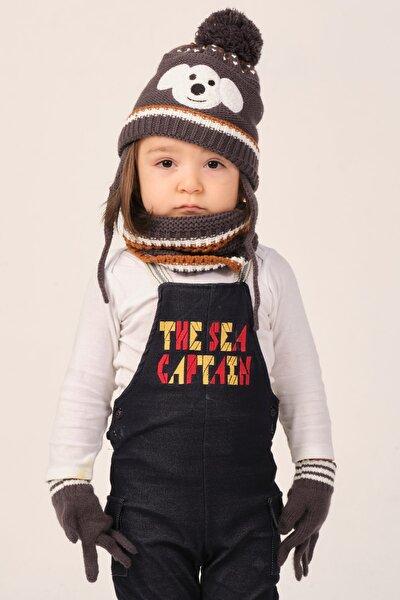 Çocuk Kahverengi Şapka Eldiven Boyunluk Seti
