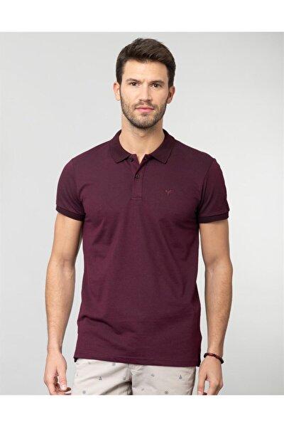 Erkek Bordo Polo Yaka Spor Düz T-Shirt