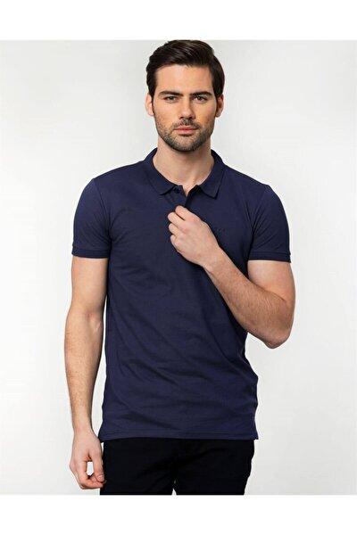 Erkek Mavi Slim Fit Polo Yaka Spor T-Shirt