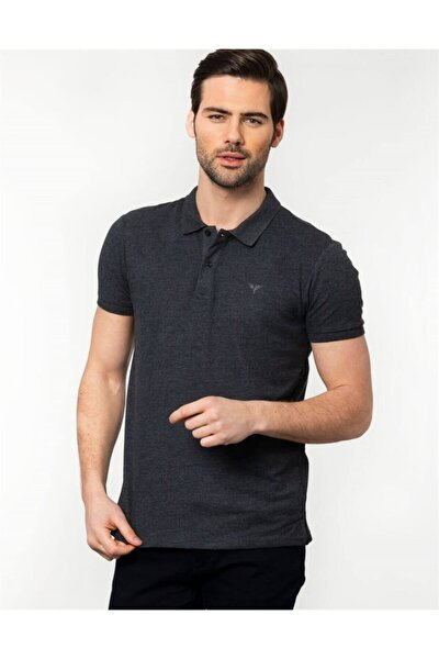 Erkek Gri Slim Fit Polo Yaka T-shirt