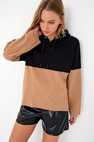 Kadın Siyah Bloklu Kapşonlu Sweatshırt MDA-1047