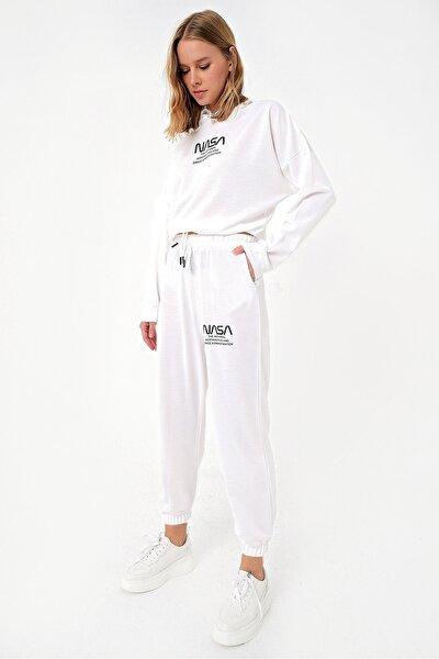 Kadın Beyaz Kapşonlu Baskılı Eşofman Takımı ALC-X5082