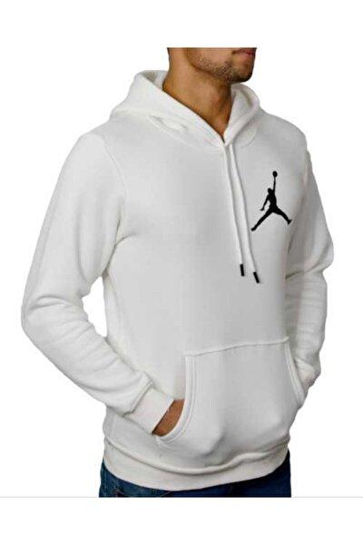 Erkek Beyaz Kapşonlu 3 Iplik Air Jordan Baskılı Tshirt
