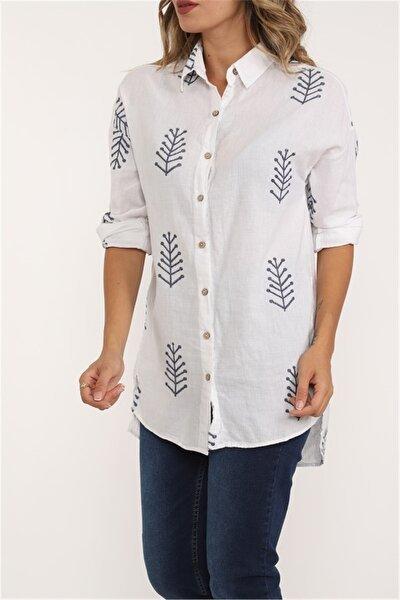 Kadın Beyaz Ok Nakışlı Patiska Pamuk Gömlek