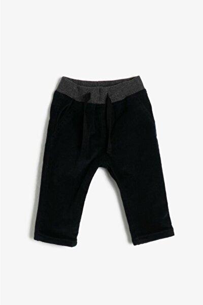 Kadife Astarlı Beli Lastikli Erkek Bebek Pantolon