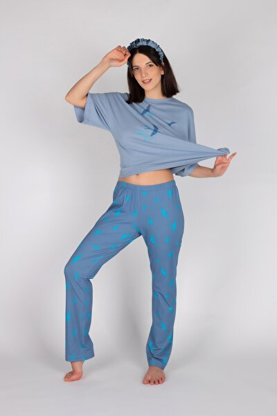 Kadın Mavi Pamuklu Kuş Desenli Kısa Kollu Pijama Takımı