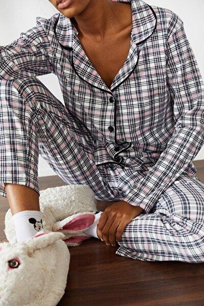 Kadın Beyaz Kareli Örme Pijama Takımı 1KZK8-10834-01