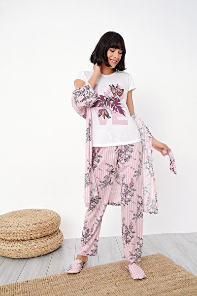 Kadın Somon Çizgili Çiçek Desenli Penye 5 Li Pijama