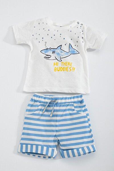 Erkek Bebek Beyaz Mavi Köpekbalığı Şort Takım SUM-4235-B