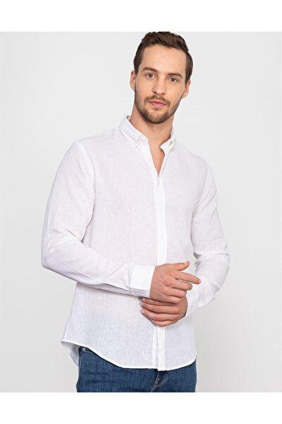 Erkek Beyaz Slim Fit Keten Gömlek