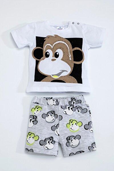 Baby Erkek Kız Bebek Maymunlu Beyaz Gri Şort Takım 5097