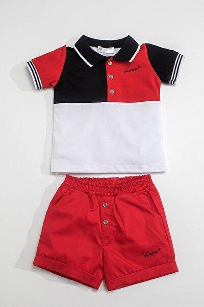 Baby Erkek Bebek Kırmızı Beyaz Yakalı T-shirt ve Dokuma Şort Takım LG-4824-K