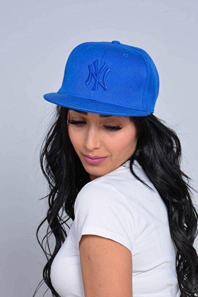 Unisex Saks Mavisi Nakışlı Ny Snapback Kep