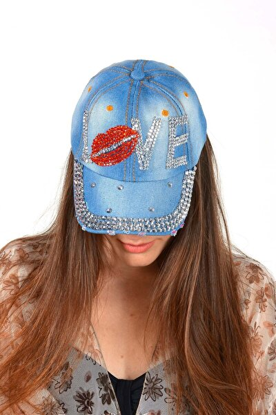 Kadın Mavi Love Taşlı Kot Şapka
