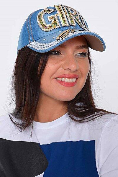 Kadın Mavi Girl Taşlı Kot Şapka