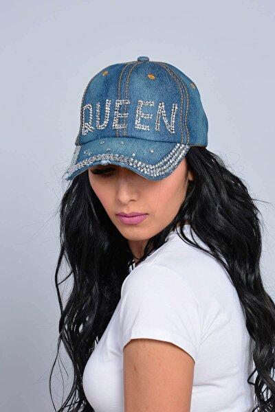 Kadın Lacivert Queen Taşlı Kot Şapka