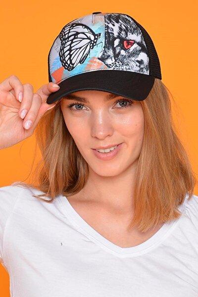 Kadın Siyah Butterfly Figürlü Şapka