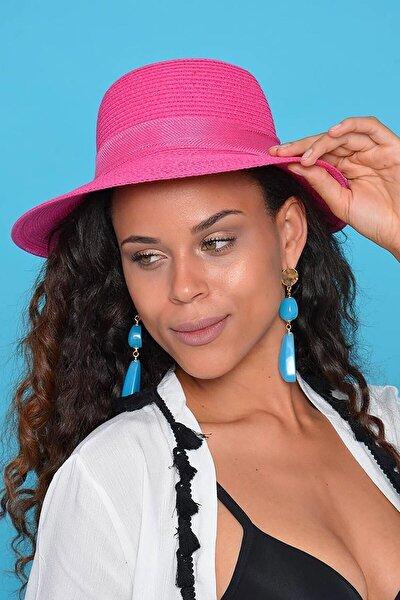 Kadın Pembe Hasır Şapka