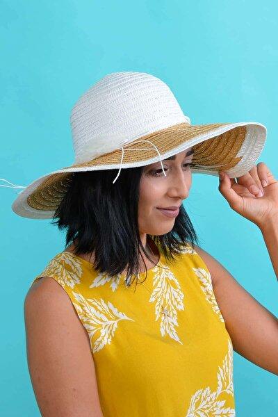 Kadın Beyaz Çiçekli Hasır Şapka