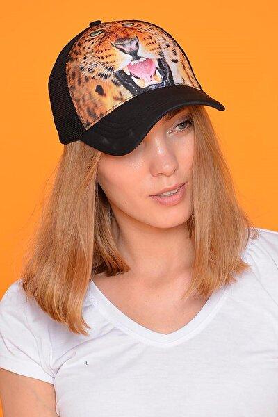 Unisex Siyah Leopar Figürlü Şapka