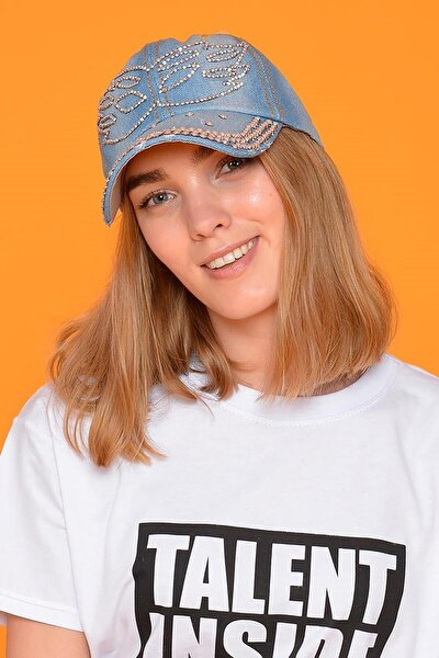 Kadın Mavi Maske Taşlı Kot Şapka