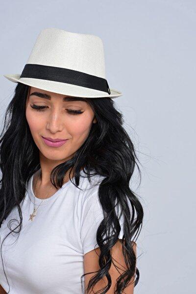 Unisex Ekru Şeritli Hasır Şapka