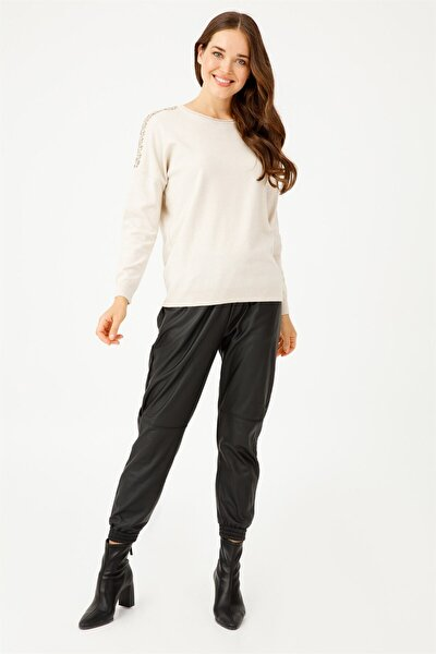 Kadın Taş Işlemeli Düşük Kol Triko Bluz 9404