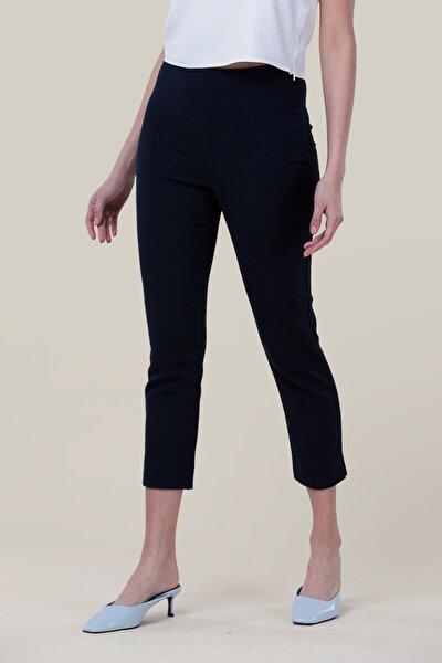 Kadın Lacivert Yüksek Bel Dar Paça Pantolon