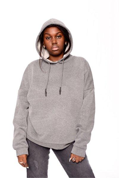 Kadın Gri Fit Kapüşonlu Sweatshirt