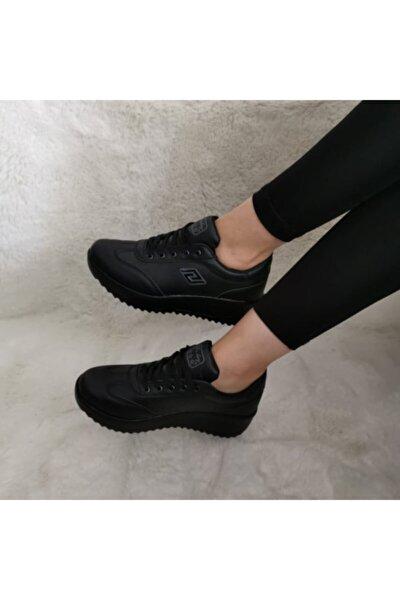 Ortopedik Yüksek Taban Sneaker Kadın Spor Ayakkabı Cilt Siyah