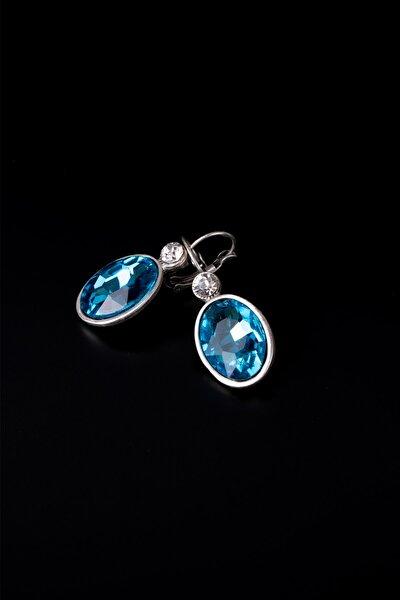 Mavi Kristal Mine Taşlı Rodyum Küpe
