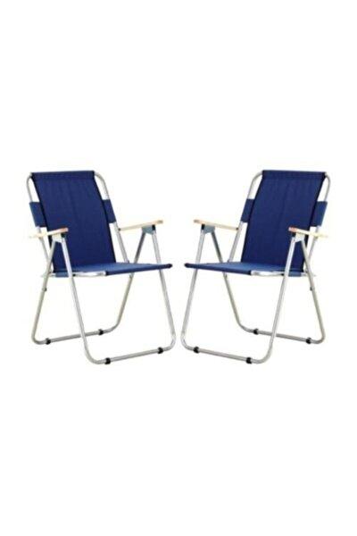 2'li Ağaç Kollu Katlanır Plaj, Piknik & Kamp Sandalyesi Seti - Lacivert