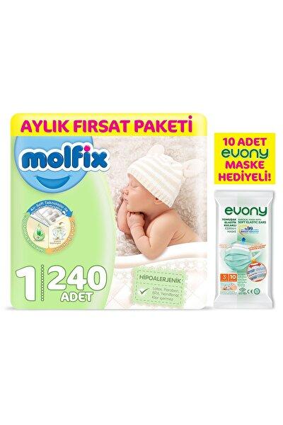 Bebek Bezi 1 Beden Yenidoğan Aylık Fırsat Paketi 240 Adet + Evony Maske 10'lu Hediyeli