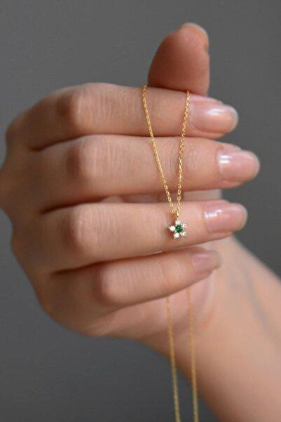 925 Ayar Gümüş Gold Kaplama Minimal Yeşil Taşlı Çiçek Kolye