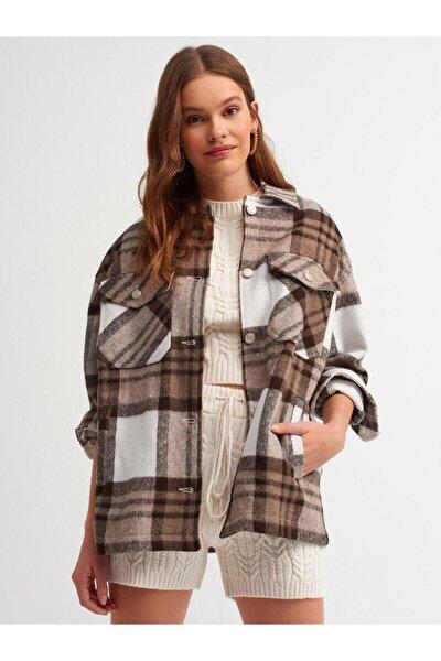 Kadın Kahverengi Oduncu Gömlek