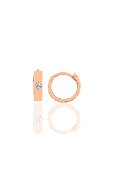 Gümüş Rose Pırlanta Modeli Halka Küpe