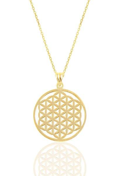 Gümüş Altın Yaldızlı  Yaşam Çiçeği Kolye