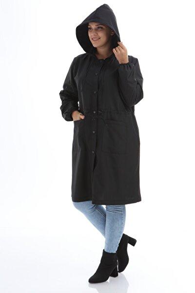 Kadın Siyah Uzun Büyük Beden Yağmurluk 1k7200bd