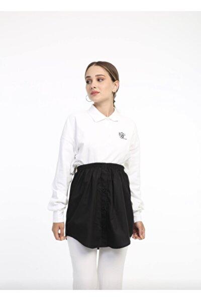 Kadın Siyah İçlik Gömlek Etek