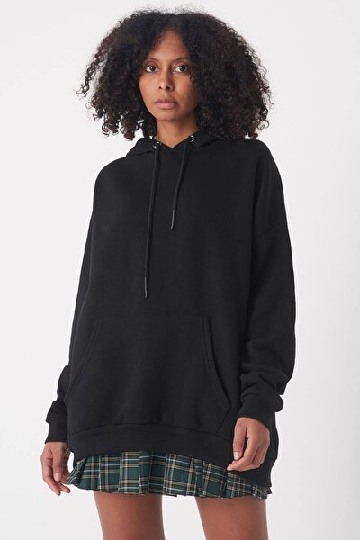 Kadın Siyah Kapşonlu Sweat S8641 - F1 ADX-0000020618